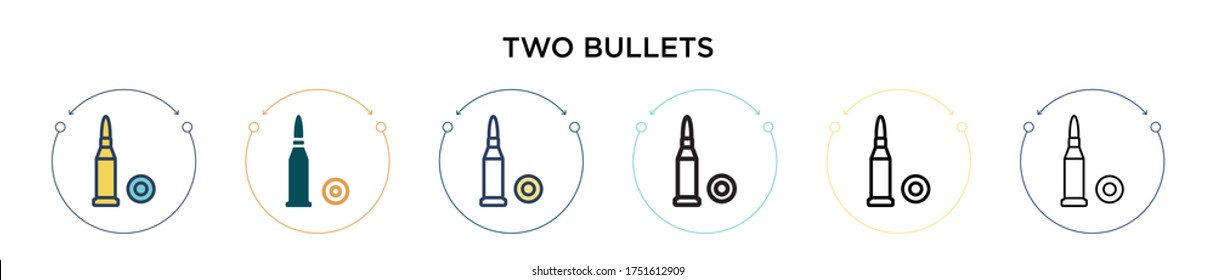 Two bullets icon in filled, thin line, outline and stroke style. Vector illustration of two colored and black two bullets vector icons designs can be used for mobile, ui, web