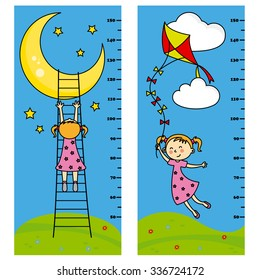 Two bumper girl meter wall. girl wants to reach the moon. girl flying his kite