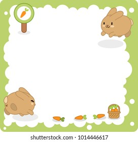 Two bunnies jumping in blank bubble, carrot sign and basket in corners (vector template)