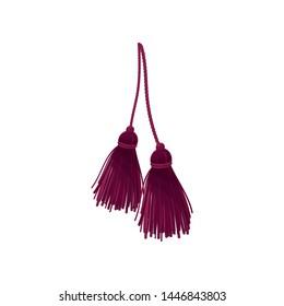 Two burgundy tassels. Vector illustration on white background.