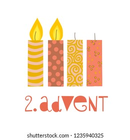 Two burning advent candles vector illustration. Second sunday in advent. Zweiter Advent german text. Flat Holiday design with candles on white background. For greeting Holiday cards, poster, Christmas