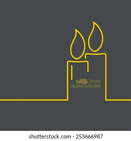 Two burning candles with a bright flame on a dark background.