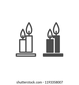 Two burning candles line and glyph icon. Flames web vector illustration isolated on white. Candlestick outline style design, designed for web and app. Eps 10.