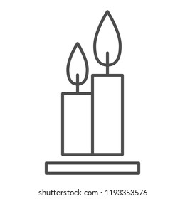 Two burning candles thin line icon. Flames web vector illustration isolated on white. Candlestick outline style design, designed for web and app. Eps 10
