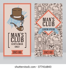two business cards for gentlemen club, can be used as party invitations, vector illustrations