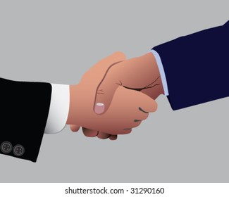 Two business dressed men shaking hands vector illustration