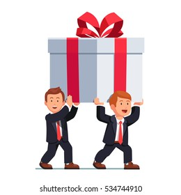 Two business man carrying huge white holiday gift box decorated with red ribbon bow over their heads. Flat style isolated vector illustration.