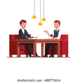 Two business man eating lunch at restaurant. Businessman talking with potential client at cafe discussing a deal. Rich friends relaxing and drinking wine. Flat cartoon vector isolated illustration.