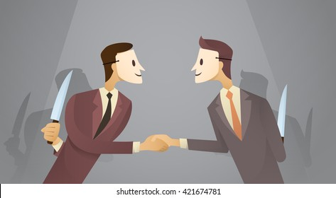 Two Business Man In Mask Shake Hands Hold Knife, Danger Betray Agreement Concept Flat Vector Illustration
