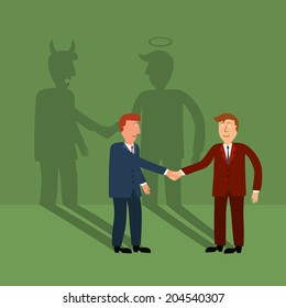 two business man shaking hand with shadow,business concept,illustration,vector