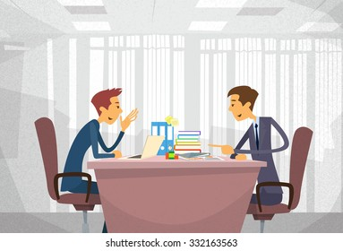Two Business Man Talking Discussing, Businessmen Chat Sitting Office Desk Concept Communication Flat Vector Illustration