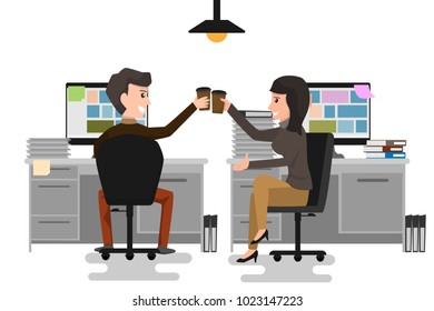 Two business man and woman Cheers Toast Drink Ice Coffee, businesspeople Happy Smile and success Sitting at office. business cartoon character concept vector illustration.