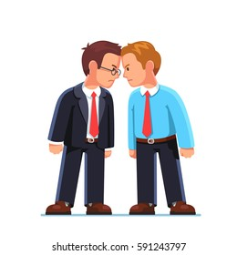 Two business men enemies or opponents standing head to head arguing and staring at each other. Work conflict between colleagues & office workers. Fight for leadership. Flat style vector illustration.
