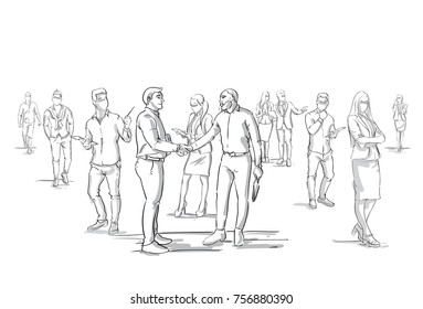 Two Business Men Handshake Silhouette Over Businesspeople Group Crowd, Businessmen Boss Shaking Hands Vector Illustration