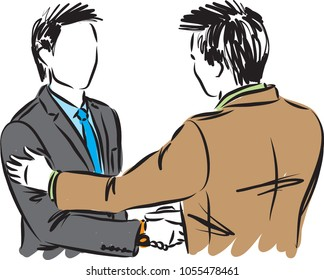 two business men shaking hands vector illustration