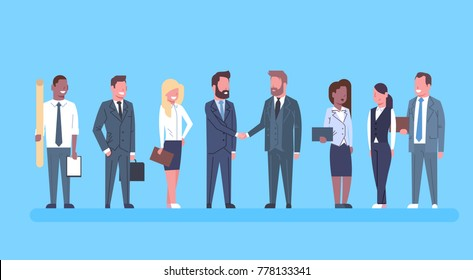 Two Business Men Shaking Hands Partners Hand Shake Concept Businesspeople Team Boss Successful Agreement Or Deal Flat Vector Illustration