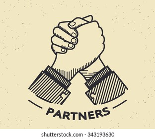 Two business partners agreed a deal and doing handshaking. Vintage illustration on beige background