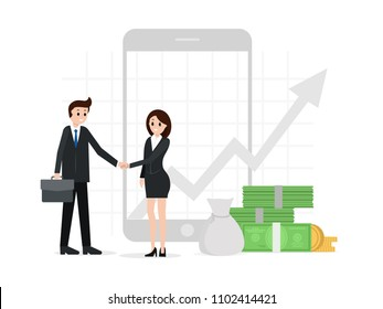 Two business partners shaking hands. Successful deal, agreement, collaboration concept. Business vector graph chart on screen. Partnership, invest, contract, successful business meeting concept.
