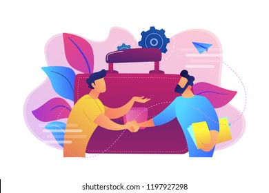 Two business partners shaking hands and big briefcase. Partnership and agreement, cooperation and deal completed concept on white background. Bright vibrant violet vector isolated illustration