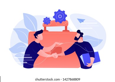 Two business partners shaking hands and big briefcase. Partnership and agreement, cooperation and deal completed concept on white background. Coral pink palette vector isolated illustration.