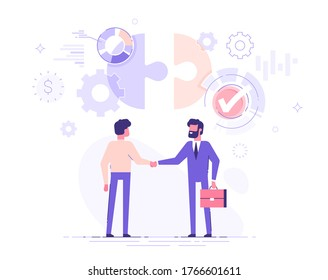Deux partenaires commerciaux se serrent la main. L'investisseur investit de l'argent dans l'idée et la start-up. Concept de partenariat et d'accord. Illustration vectorielle moderne.