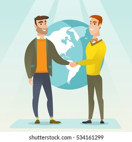 Two business partners shaking hands. Business partners handshaking after successful deal on a world map background. International business partnership. Vector flat design illustration. Square layout.