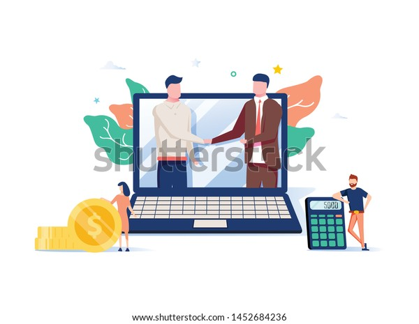 Two business partners shaking hands in big laptop. Online business, Partnership and agreement, with small employ around, cooperation and deal completed, remote concept vector illustration. Ecommerce