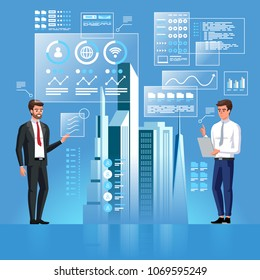 Two business persons are developing a project of Smart City using virtual interface.  Artificial Intelligence. Internet of Things. Information Communication Technology. Vector illustration