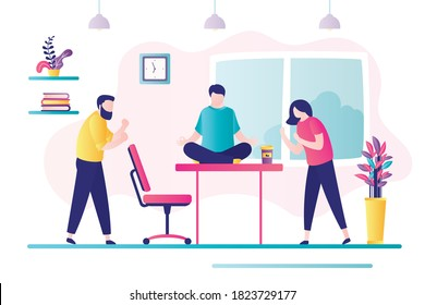 Two business workers are in conflict. Professional stress management at work. Conflict situation in office between employees. Businessman relaxes on workplace. Trendy flat vector illustration