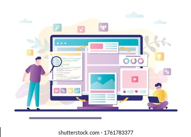 Two businessman builds and develop web page design on monitor. Teamwork, construction and web builders concept. Male characters use magnifying glass and laptop for analyzes. Flat Vector illustration