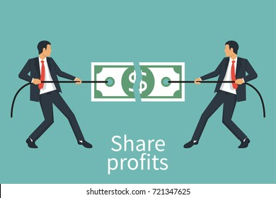 Two businessman conflict share profit, tearing money in half.Torn dollar banknote in hands. Finance loss. Break bill. Ripped cash. Vector illustration flat design. Isolated on white background.