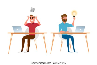 Two businessman are different have idea and have no idea. Angry, stress at work and positive businessmen. Cartoon Vector Illustration.