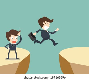 Two businessman looking and jumping over gap