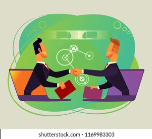 Two businessman office workers characters shaking hands by internet. Online business cooperation concept flat cartoon graphic design illustration