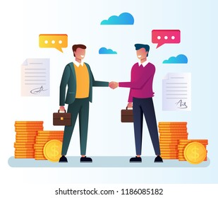 Two businessman office workers characters making business deal and handshake. Financial strategy infographics partnership cooperation investment. Vector flat cartoon isolated graphic design