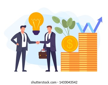Two businessman people characters shaking hands. Successful business cooperation concept. Vector design graphic flat cartoon illustration