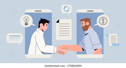 Two businessman settle contract with signing up contract and handshake. New profitable project start up sponsored by investor. Busines concept of two male characters in smartphone making deal.