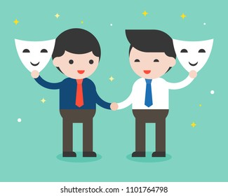 Two businessman shake hand and open mask, sincere business people concept, flat design