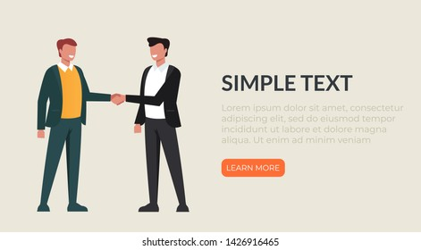 Two businessman shaking hands. Vector flat cartoon graphic design illustration