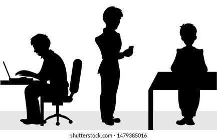 Two businessman sitting on chair for the office desk and the third stands with smart phone in hand. Vector black and white flat illustration.