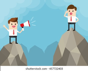 two businessman standing on top of mountain. manager listen to the sound of others with employee shouting through megaphone