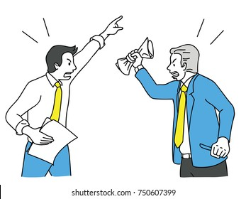 Two businessman turn face to face, arguing, fighting, yelling, shouting to each other, business concept in relationship problem in colleagues, coworkers, friends. Outline, linear, hand drawn sketch.
