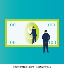 Two businessmen analyzing the economy. Business concepts. -Vector Illustration-