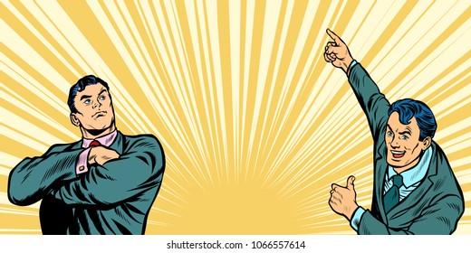 Two businessmen background. Pop art retro vector illustration comic cartoon vintage kitsch