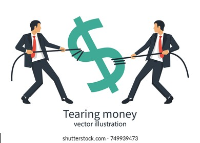 Two businessmen break sing dollar bill with rope. Tearing money. Divide finance. Conflict concept. Torn in half. Vector illustration flat design. Isolated on white background. Financial crisis.