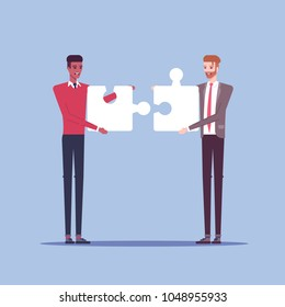 Two businessmen characters connect piece of jigsaw puzzle flat illustration. Two men in formal wear collects pieces of puzzle together. Business concept cooperation and integration