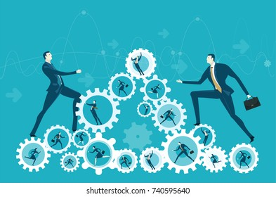 Two businessmen climbing up on the pyramid made of gears with hard working people. The way towards the success. Concept innlustration