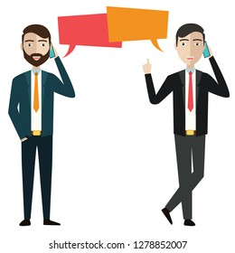 Two businessmen communicate with each other by phone. Communications concept. Vector illustration - Vector illustration