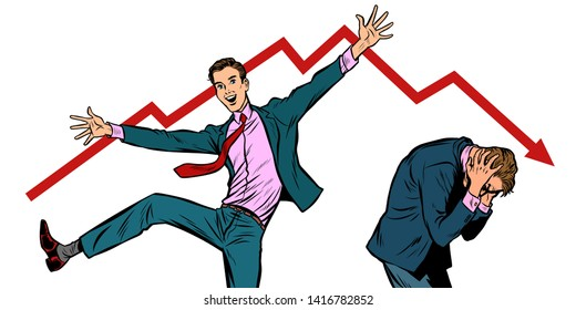 two businessmen. different emotions happiness joy smile and panic sadness fear. bankruptcy stock market crash Pop art retro vector illustration vintage kitsch