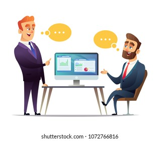 Two businessmen discuss the strategy of doing business. The employee tells the boss about business ideas. Predprenimateli talk about commercial enterprise
